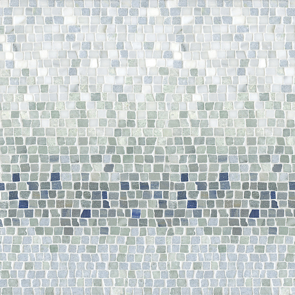 Mist, a natural stone hand-chopped tumbled mosaic shown in Ming Green, Kays Green, Celeste, Calacatta, Blue Macauba and Lettuce Ming, is part of the Metamorphosis Collection by Sara Baldwin for New Ravenna Mosaics.