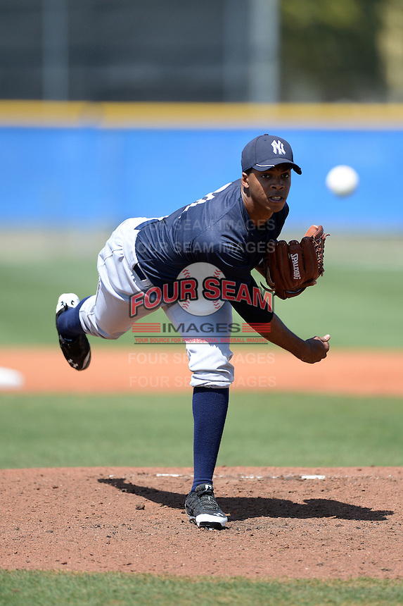 Pitcher Simon De La Rosa (61) of the New York Yankees organization during a minor league spring training game against the Toronto Blue Jays on March 16, 2014 at the Englebert Minor League Complex in Dunedin, Florida.  (Mike Janes/Four Seam Images)