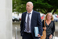 Pictured: Craig John Scott arrives at Swansea Crown Court. Tuesday 05 June 2018<br /> Re: A driver who was speaking on a hands-free mobile phone moments before he crashed into a car on the M4 motorway killing a pregnant mother, has appeared before Swansea Crown Court.<br /> 27 year old Rebecca Evans, from Bridgend, was eight months pregnant when she died at the scene of the crash near Port Talbot, south Wales in 2016.<br /> Her son, Cian, 2, who was travelling with her, was also seriously injured.<br /> 51 year old Craig John Scott, from Cardiff, denies causing death by dangerous driving.<br /> He also denies causing serious injury by dangerous driving. He had previously pleaded guilty to the lesser charge of causing death by careless driving.<br /> Ms Evans was a front seat passenger in the car driven by her husband Alex when the crash happened at about 8am on 29 November 2016.