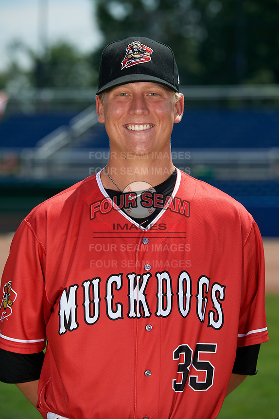 Batavia Muckdogs pitcher Chad Martin (35) poses for a photo on July 2, 2018 at Dwyer Stadium in Batavia, New York.  (Mike Janes/Four Seam Images)