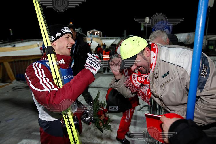 Simon Ammann  after winning ski jumping competition at Lillehammer, Norway..©Fredrik Naumann/Felix Features..(journlist Mathias Schneider/Stern)
