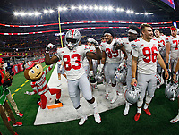 Ohio State Buckeyes wide receiver Terry McLaurin (83) celebrates following their 40-28 win over the TCU Horned Frogs in the NCAA football game at AT&T Stadium in Arlington, Texas on Sept. 15, 2018. [Adam Cairns / Dispatch]