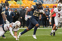 Pitt running back Darrin Hall scores on a 14 yard touchdown run. The Pitt Panthers defeated the Virginia Cavaliers 31-14 at Heinz Field, Pittsburgh, PA on October 28, 2017.