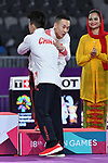 (L-R) Lin Chaopan, Xiao Ruoteng (CHN), <br /> AUGUST 20, 2018 - Artistic Gymnastics : Men's Individual All-Around Medal Ceremony at JIEX Kemayoran Hall D during the 2018 Jakarta Palembang Asian Games in Jakarta, Indonesia. <br /> (Photo by MATSUO.K/AFLO SPORT)