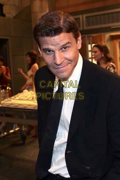 "DAVID BOREANAZ.At the ""Bones"" 100th Episode Celebration held at  20th Century Fox, Century City, CA, USA, .26th January 2010..half length white shirt black suit tie  .CAP/ADM/TC.©T. Conrad/AdMedia/Capital Pictures."
