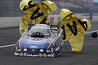Feb 9, 2014; Pomona, CA, USA; NHRA funny car driver Robert Hight during the Winternationals at Auto Club Raceway at Pomona. Mandatory Credit: Mark J. Rebilas-