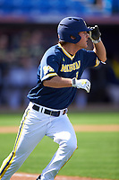Michigan Wolverines center fielder Cody Bruder (3) during the second game of a doubleheader against the Canisius College Golden Griffins on February 20, 2016 at Tradition Field in St. Lucie, Florida.  Michigan defeated Canisius 3-0.  (Mike Janes/Four Seam Images)