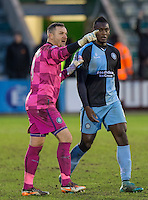 Wycombe Wanderers 46 year old Keeper Barry Richardson who kept a clean sheet against Plymouth Argyle on Saturday (30/01/16) having not played a competitive game in over 10 years (chats with Aaron Pierre of Wycombe after the match). Photo by Mark Hawkins / PRiME Media Images