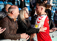 Fleetwood Town's Wes Burns with family after the match<br /> <br /> Photographer Andrew Kearns/CameraSport<br /> <br /> The EFL Sky Bet League One - Wycombe Wanderers v Fleetwood Town - Saturday 4th May 2019 - Adams Park - Wycombe<br /> <br /> World Copyright © 2019 CameraSport. All rights reserved. 43 Linden Ave. Countesthorpe. Leicester. England. LE8 5PG - Tel: +44 (0) 116 277 4147 - admin@camerasport.com - www.camerasport.com