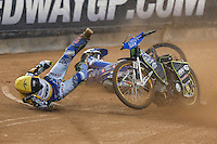 Fredrik Lindgren (Sweden) crashes in the first heat of the 2016 Adrian Flux British FIM Speedway Grand Prix at Principality Stadium, Cardiff, Wales  on 9 July 2016. Photo by David Horn.