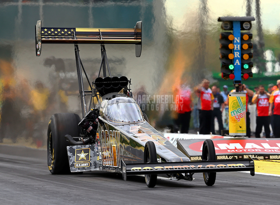 Mar 13, 2015; Gainesville, FL, USA; NHRA top fuel driver Tony Schumacher during qualifying for the Gatornationals at Auto Plus Raceway at Gainesville. Mandatory Credit: Mark J. Rebilas-USA TODAY Sports