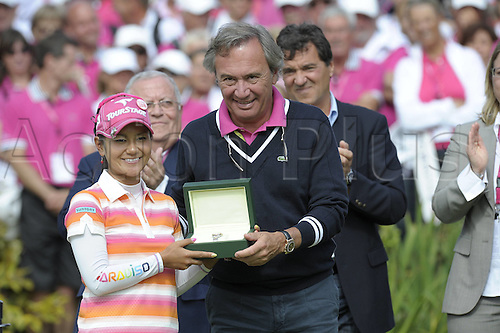 24 07 2011 Evian Masters ladies Golf tournament. France.  Ai Miyazato of Japan receives her Rolex winners watch from the tournament organisers at the  Evian Masters on  24 07 2011