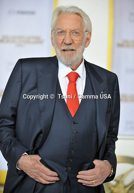 Donald Sutherland  at THE HUNGER GAMES, MOCKINGJAY – PART 1 Premiere at the Nokia Theatre on Nov. 17, 2014 in Los Angeles.