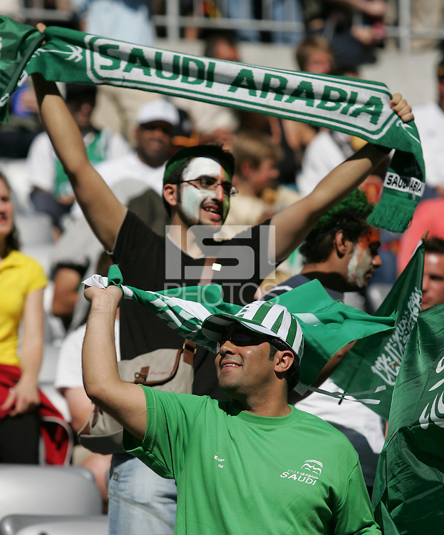 Saudi Arabian fans cheer on their team before their game. Saudi Arabia and Tunisia played to a 2-2 tie in their FIFA World Cup Group H match at FIFA World Cup Stadium, Munich, Germany, June 14, 2006.