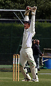 Arbroath wicket-keeper Marc Petrie pictured claiming a catch - Petrie has been drafted in to replace injured Scotland keeper Simon Smith in the One Day International Scotland V Canada match at Mannofield, Aberdeen from tomorrow - Picture by Donald MacLeod 05.07.09