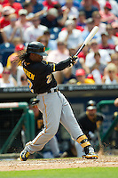 Pittsburgh Pirates  outfielder Andrew McCutchen #22 at bat during the Major League Baseball game against the Philadelphia Phillies on June 28, 2012 at Citizens Bank Park in Philadelphia, Pennsylvania. The Pirates defeated the Phillies 5-4. (Andrew Woolley/Four Seam Images).