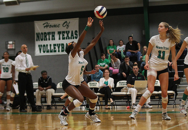 Denton, TX - OCTOBER 7: Carnae Dillard #5 of the University of North Texas Mean Green Volleyball in action against the Middle Tennessee at University of North Texas Volleyball Complex in Denton on October 7, 2012 in Denton, Texas. (Photo by Rick Yeatts)