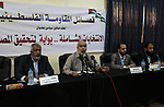 The leader of Al-Ahrar movement, Khaled Abu Hilal, speaks during a meeting about the Palestinian elections, in Gaza city, on October 30, 2019. Photo by Mahmoud Ajjour Palestinian members of Al-Ahrar movement, attend a meeting about the Palestinian elections, in Gaza city, on October 30, 2019. Photo by Mahmoud Ajjour
