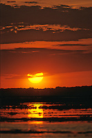 Sunset over a tidal salt marsh, Stone Harbor, New Jersey