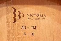 barrel with stamp victoria bodegas frutos villar , cigales spain castile and leon