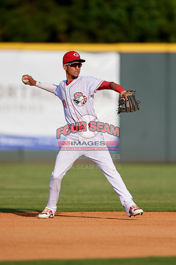 Greeneville Reds shortstop Miguel Hernandez (33) throws to first base during a game against the Pulaski Yankees on July 27, 2018 at Pioneer Park in Tusculum, Tennessee.  Greeneville defeated Pulaski 3-2.  (Mike Janes/Four Seam Images)