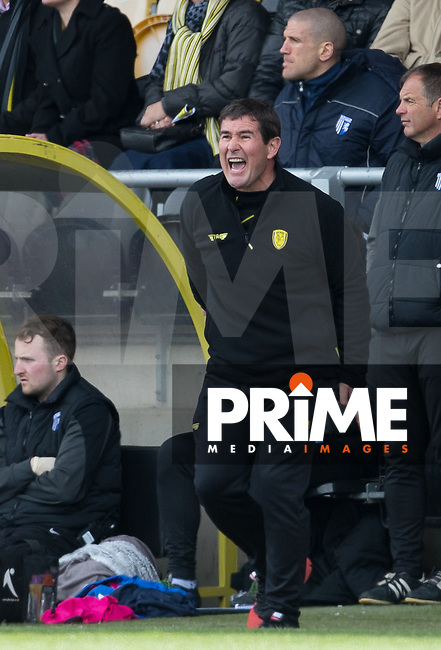 Burton Albion Manager Nigel Clough gives instructions during the Sky Bet League 1 match between Burton Albion and Gillingham at the Pirelli Stadium, Burton upon Trent, England on 30 April 2016. Photo by Andy Rowland.