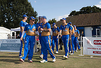The Upminster team take to the field - complete with refreshments - during Upminster CC vs Essex CCC, Benefit Match Cricket at Upminster Park on 8th September 2019