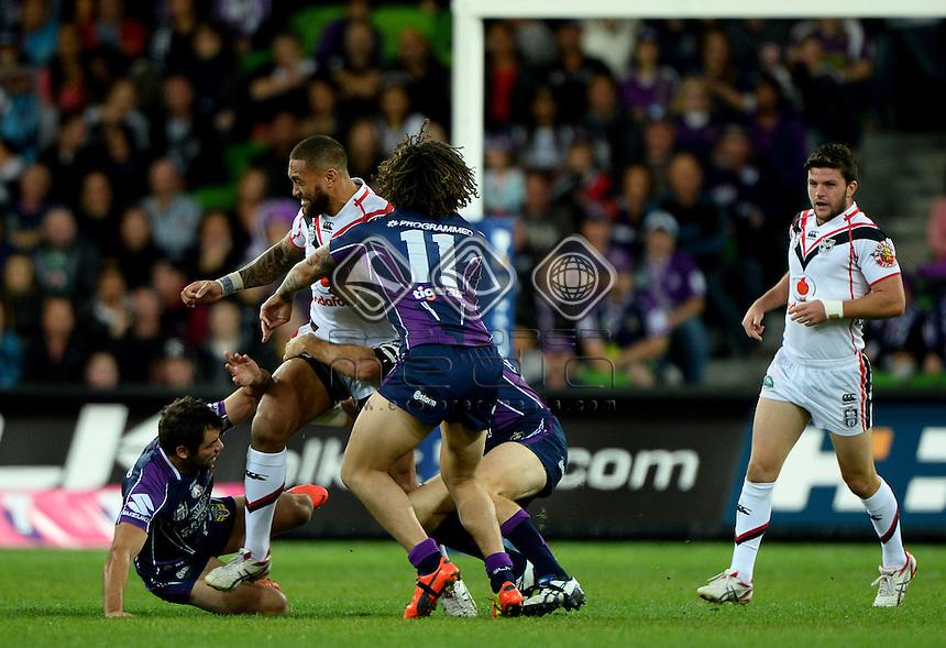 Manu Vatuvei  (NZ)<br /> NZ Warriors vs Melbourne Storm<br /> ANZAC day clash - AAMI Park<br /> Rugby League - 2014 NRL <br /> Melbourne AUS Friday 25 April  2014<br /> &copy; Sport the library / Jeff Crow