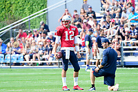 August 2, 2017: New England Patriots quarterback Tom Brady (12) waits to start a drill at the New England Patriots training camp held at Gillette Stadium, in Foxborough, Massachusetts. Eric Canha/CSM