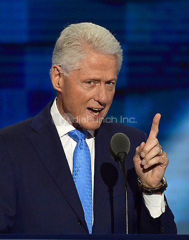 Former United States President Bill Clinton makes remarks during the second session of the 2016 Democratic National Convention at the Wells Fargo Center in Philadelphia, Pennsylvania on Tuesday, July 26, 2016.<br /> Credit: Ron Sachs / CNP/MediaPunch<br /> (RESTRICTION: NO New York or New Jersey Newspapers or newspapers within a 75 mile radius of New York City)