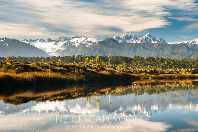 Views of Franz Josef Glacier and Southern Alps across coastal lagoon near Okarito, Westland Tai Poutini National Park, West Coast, UNESCO World Heritage Area, New Zealand, NZ