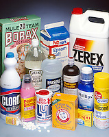 COMMON SUPERMARKET PRODUCTS<br /> With Simple Chemical Compositions<br /> Many common products have simple chemical compositions.  e.g. the active ingredient in Peptol Bismol is bismuth subsalicylate &amp; in Espo is yellow phenolphthalein.