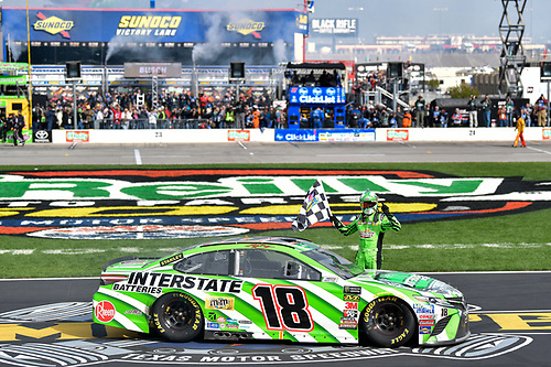 #18: Kyle Busch, Joe Gibbs Racing, Toyota Camry Interstate Batteries, Celebrates after winning in Texas.