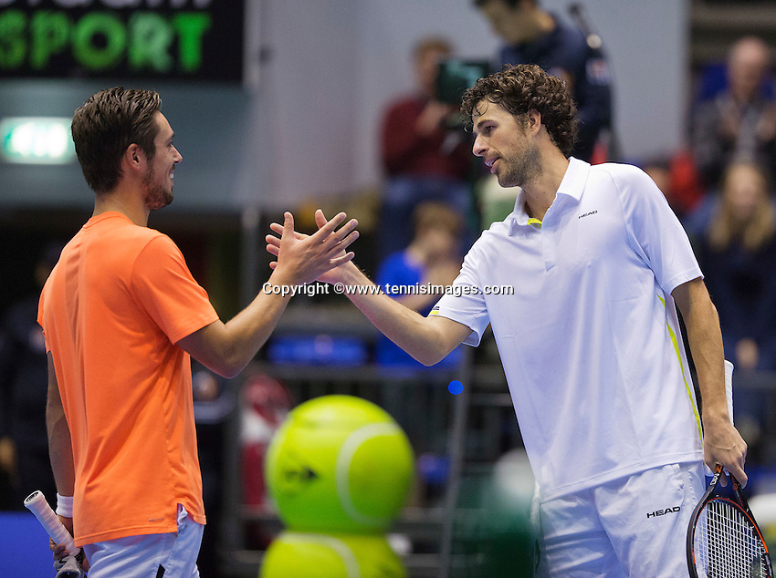 Rotterdam, Netherlands, December 19, 2015,  Topsport Centrum, Lotto NK Tennis,  Robin Haase (NED) is congratulated bij Tim van Terheijden <br /> Photo: Tennisimages/Henk Koster