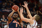 March 8, 2014; Las Vegas, NV, USA; Pepperdine Waves forward Stacy Davis (5) shoots against St. Mary's Gaels forward Beau Levesque (15) during the second half of the WCC Basketball Championships at Orleans Arena.