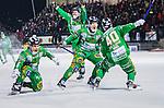 Stockholm 2015-01-30 Bandy Elitserien Hammarby IF - Sandvikens AIK :  <br /> Hammarbys Adam Gilljam friar sitt 5-4 m&aring;l med Robin Sundin , Stefan Erixon och Ulf Einarsson under matchen mellan Hammarby IF och Sandvikens AIK <br /> (Foto: Kenta J&ouml;nsson) Nyckelord:  Elitserien Bandy Zinkensdamms IP Zinkensdamm Zinken Hammarby Bajen HIF Sandviken SAIK jubel gl&auml;dje lycka glad happy