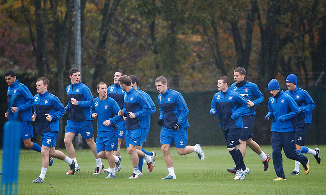 A skeleton Rangers squad training at Murray PArk after the Old Firm game