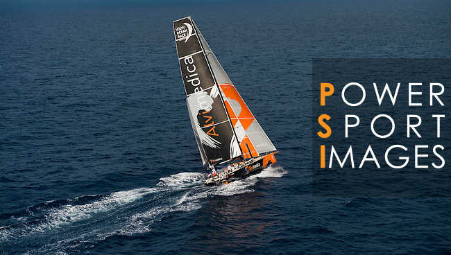 Team Alvimedica heading toward the finish line of the Volvo Ocean Race Leg 3 Abu Dhabi-Sanya on January 27, 2015 in Sanya, China. The Volvo Ocean Race 2014-15 is the 12th running of this ocean marathon. Starting from Alicante in Spain on October 11, 2014, the route, spanning some 39,379 nautical miles, visits 11 ports in 11 countries (Spain, South Africa, United Arab Emirates, China, New Zealand, Brazil, United States, Portugal, France, the Netherlands and Sweden) over nine months. The Volvo Ocean Race is the world's premier ocean race for professional racing crews. Photo by Victor Fraile / Power Sport Images