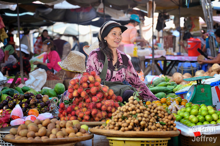 A woman sells fruit in a market in the Cambodian village of Maung Rossey.