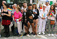 A mixture of people from different backgrounds in the crowd  in this year's Pride Parade in the centre of Cardiff, Wales, UK. Sayurday 26 August 2017