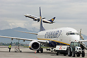 Ryanair aircraft takes off at Bergamo airport