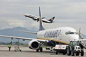 Ryanair aircraft takes off at Bergamo airport
