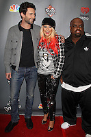 WEST HOLLYWOOD, CA - NOV 8: Adam Levine, Christina Aguilera and Cee Lo Green at the NBC's 'The Voice' Season 3 at House of Blues Sunset Strip on November 8, 2012 in West Hollywood, California.  Credit: mpi27/MediaPunch Inc. /NortePhoto.com