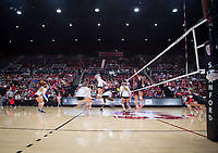 STANFORD, CA - November 4, 2018: Meghan McClure, Sidney Wilson, Kathryn Plummer, Tami Alade, Jenna Gray at Maples Pavilion. No. 2 Stanford Cardinal defeated the Utah Utes 3-0.