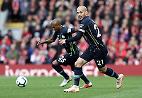 Manchester City's David Silva looks to make a run as Fernandinho drives forward<br /> <br /> Photographer Rich Linley/CameraSport<br /> <br /> The Premier League - Liverpool v Manchester City - Sunday 7th October 2018 - Anfield - Liverpool<br /> <br /> World Copyright &copy; 2018 CameraSport. All rights reserved. 43 Linden Ave. Countesthorpe. Leicester. England. LE8 5PG - Tel: +44 (0) 116 277 4147 - admin@camerasport.com - www.camerasport.com