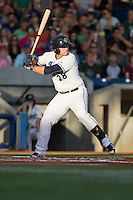 Josh Anderson (28) of the Hillsboro Hops at bat during a game against the Tri-City Dust Devils at Ron Tonkin Field in Hillsboro, Oregon on August 24, 2015.  Tri-City defeated Hillsboro 5-1. (Ronnie Allen/Four Seam Images)