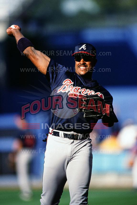 Brian Jordan of the Atlanta Braves during a game against the Los Angeles Dodgers at Dodger Stadium circa 1999 in Los Angeles, California. (Larry Goren/Four Seam Images)