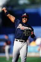Brian Jordan of the Atlanta Braves during a game against the Los Angeles Dodgers at Dodger Stadium circa 1999 in Los Angeles, California. (Larry Goren/Four Seam Images)