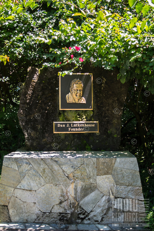 A plaque of the founder, Dan J. Lutkenhouse, of Hawaii Tropical Botanical Garden in Papa'ikou just north of Hilo, on the Big Island of Hawaiʻi.