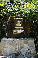 A plaque of the founder, Dan J. Lutkenhouse, of the Hawai'i Tropical Botanical Garden, Onomea, just north of Hilo, on the Big Island of Hawaiʻi.
